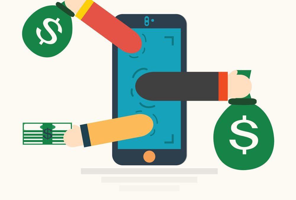 Mobil smart phone med pengar